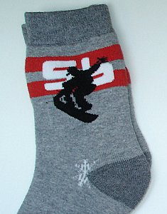 "Thermo-Socken ""Boy & Girl"" - Snowboard grau"